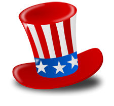 Top Hat in red, white & blue