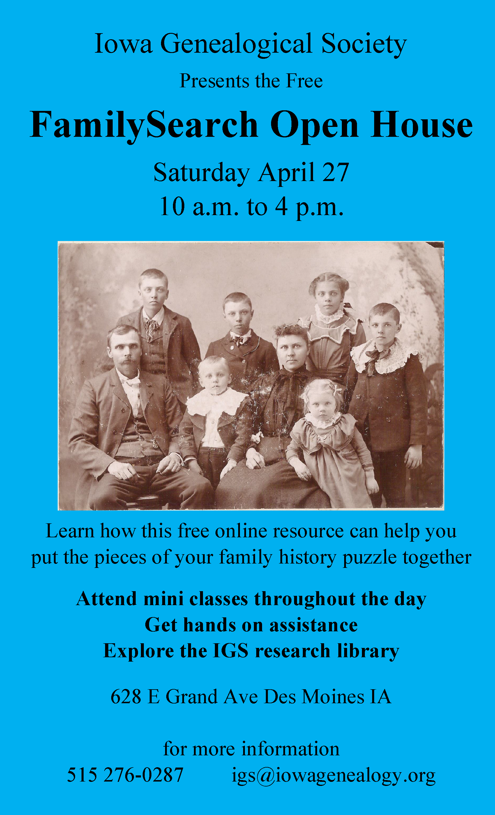 FamilySearch Open House poster